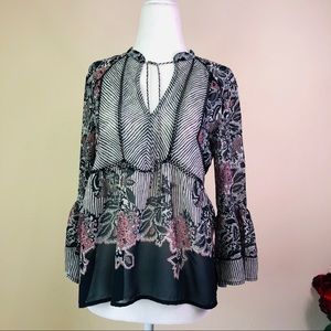 NWT Lucky Brand  Sheer  Bell Sleeve Top S